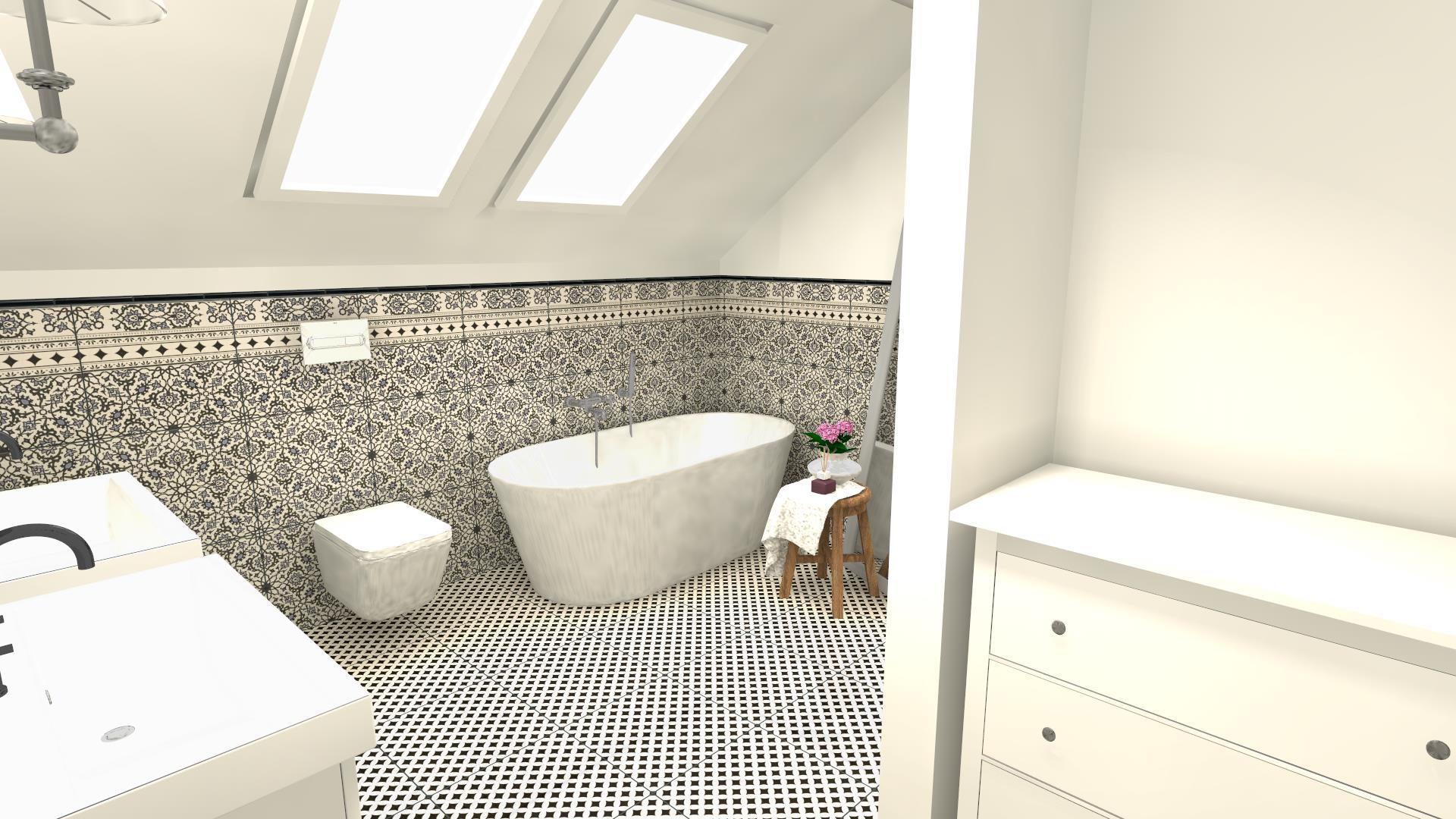 Retro łazienka ze skosem