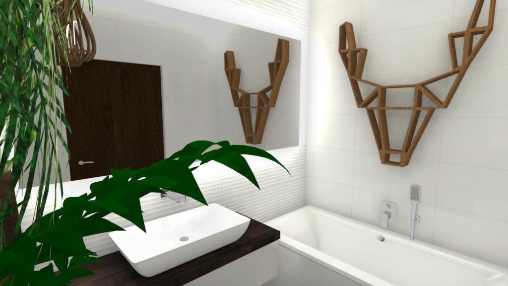 Projekt łazienki z zieloną ścianą
