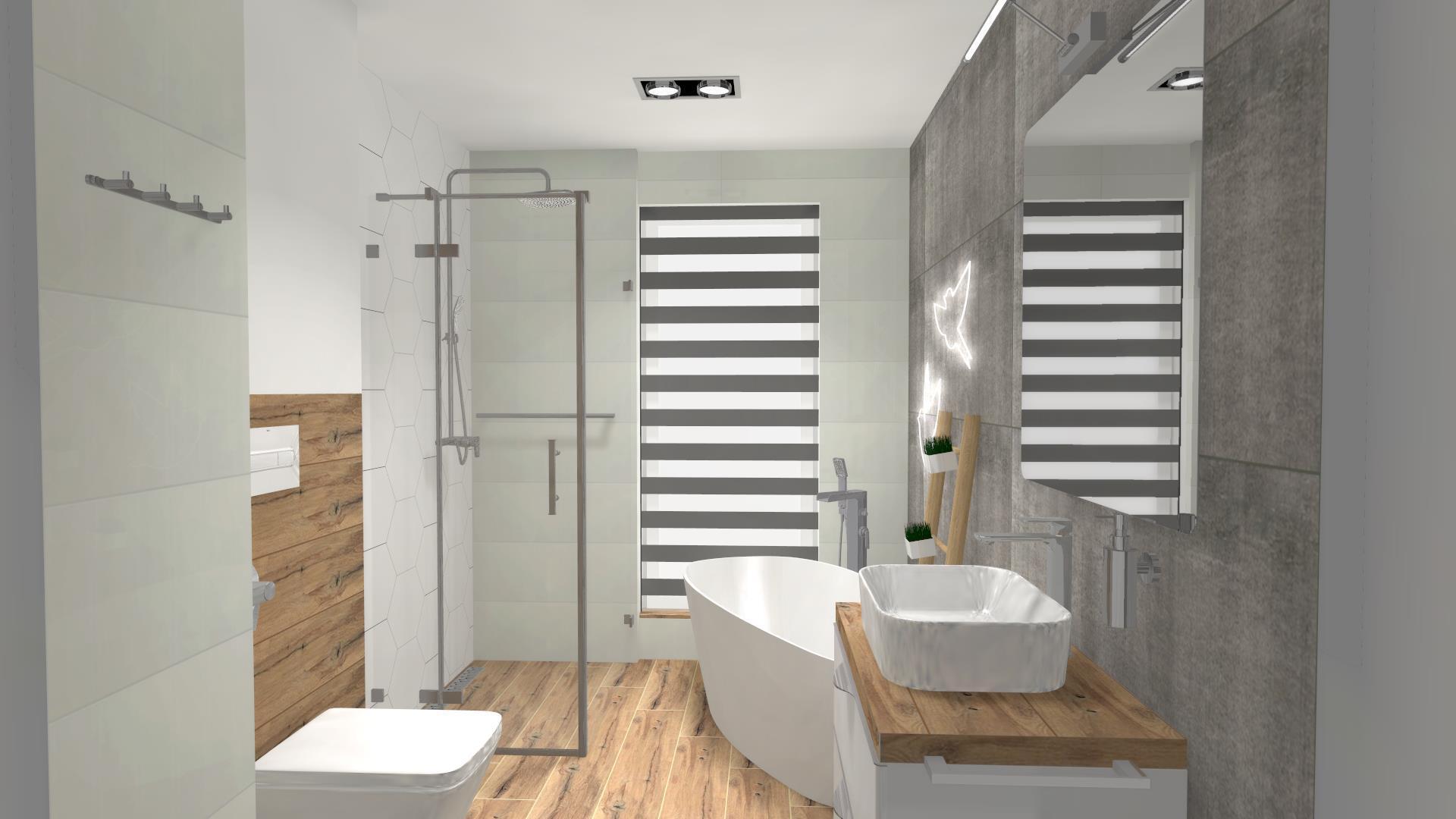 Projekt łazienki z wanną wolnostojącą