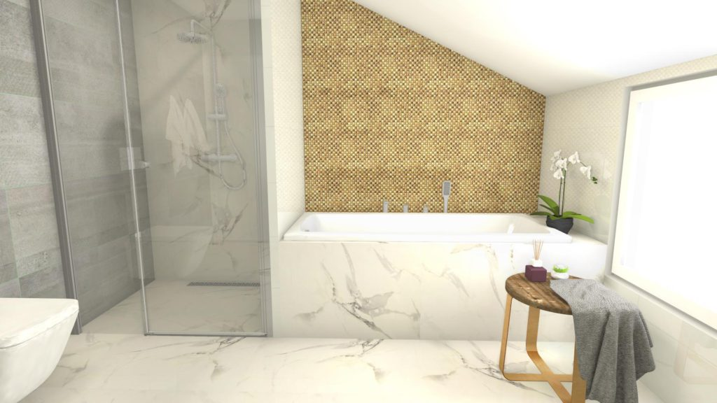 Prysznic w łazience ze skosem