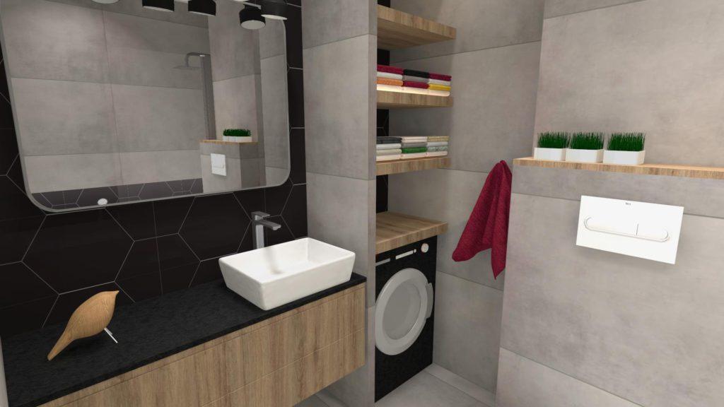 Zabudowana pralka w łazience