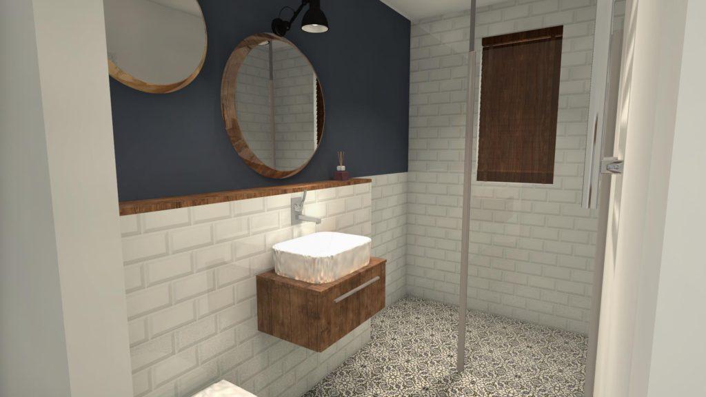 Wzorzysta podłoga w łazience