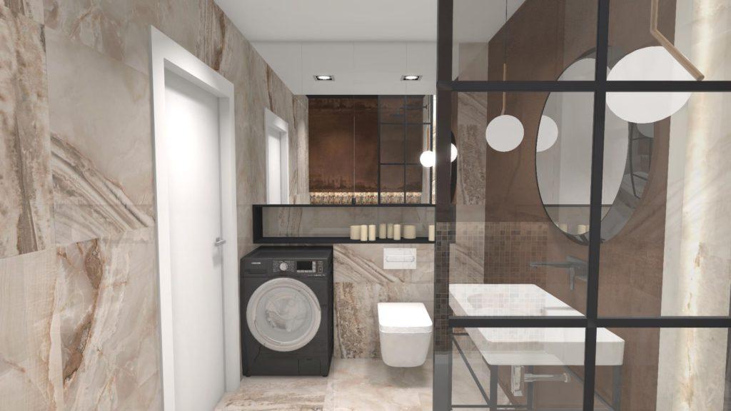 Lustrzana zabudowa szafek w łazience
