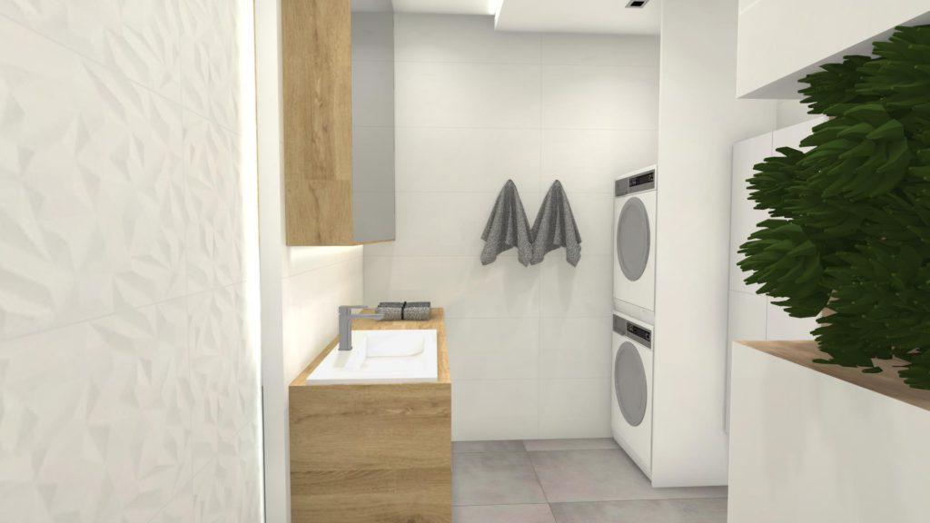 Suszarka i pralka w łazience