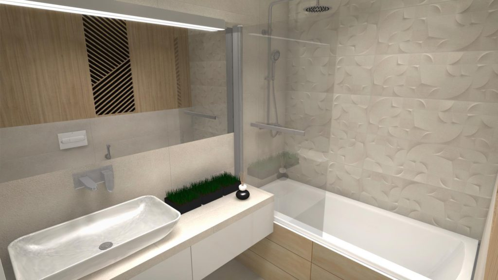 Beżowe płytki w łazience