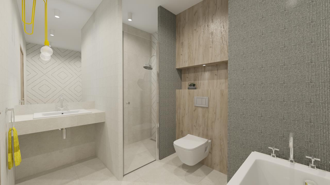 Geometryczny akcent w nowoczesnej aranżacji łazienki
